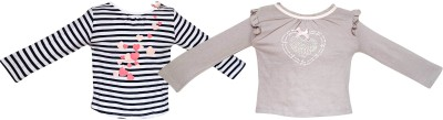 Parv Collections Casual Full Sleeve Striped Baby Girl's White Top