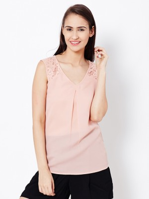The Vanca Casual Sleeveless Solid Women's Pink Top