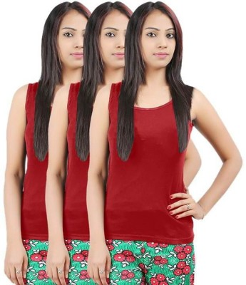 99DailyDeals Casual Sleeveless Solid Women's Red, Black, Blue Top