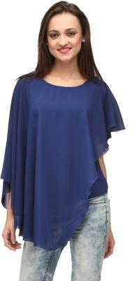 Vemero Clothings Lounge Wear Cape Sleeve Solid Women's Blue Top