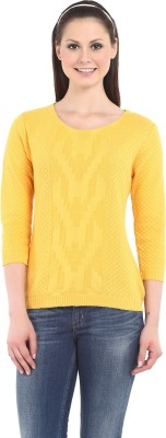 Miss Grace Casual 3/4 Sleeve Self Design Women's Yellow Top