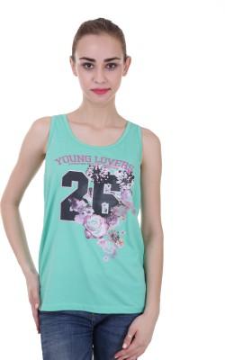 Skatti Casual Sleeveless Floral Print Women's Green Top
