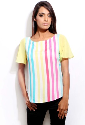 Change360?? Casual Short Sleeve Printed Women's Multicolor Top