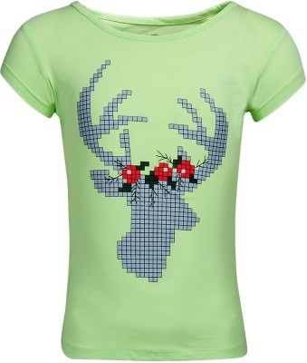 Miss Alibi By INMARK Casual Puff Sleeve Printed Girl's Green Top