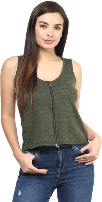 Rockland Life Casual Sleeveless Solid Women's Green Top