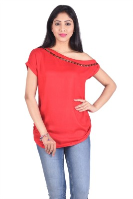 No Code Casual, Festive, Party, Wedding Short Sleeve Self Design Women's Red Top