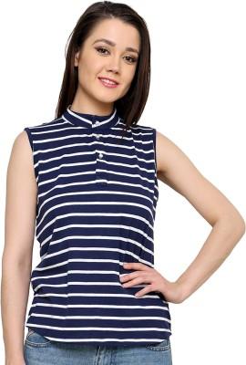 Ebry Casual Sleeveless Striped Women's Dark Blue Top