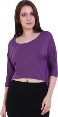 Rat Trap Casual 3/4 Sleeve Solid Women's Purple Top
