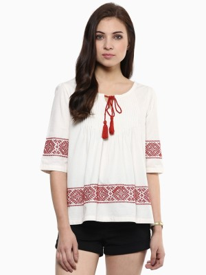American Swan Casual Short Sleeve Solid Women's White Top
