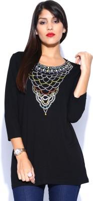 Noble Faith Casual 3/4 Sleeve Solid Women's Black Top