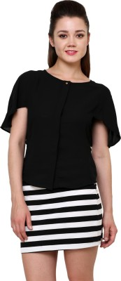AT BY TARUNA Casual Short Sleeve Solid Women's Black Top