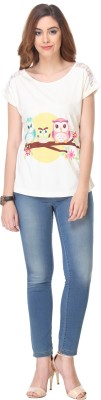 We Desi Party Short Sleeve Printed Women's White Top