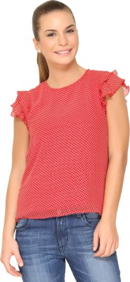 Alibi By Inmark Casual Short Sleeve Printed Women,s Red Top