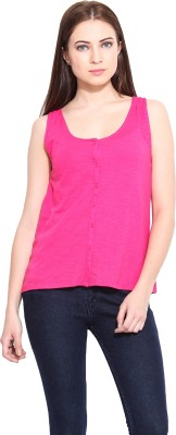 Hook & Eye Casual Sleeveless Solid Women's Pink Top