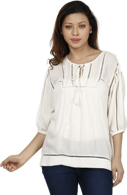 Miway Casual Balloon Sleeve Solid Women's White Top