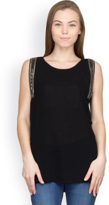 Orous Party Sleeveless Solid Women's Black Top
