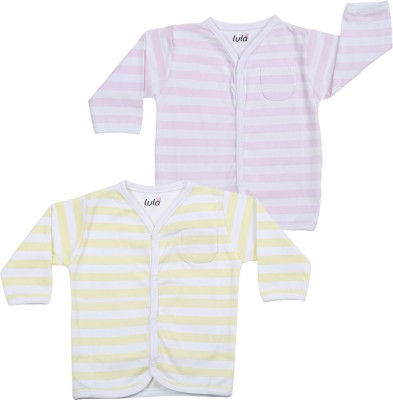 Lula Casual Full Sleeve Striped Baby Girl's Yellow, Pink Top