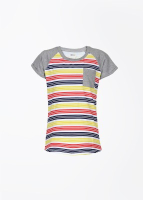 People Casual Short Sleeve Striped Girl's Multicolor Top