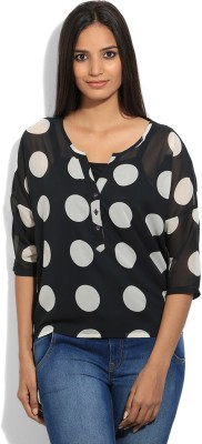 United Colors of Benetton Casual 3/4th Sleeve Polka Print Womens Black Top