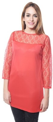PINK SISLY Casual Full Sleeve Solid Women's Red Top
