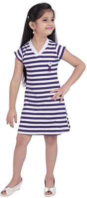 Triki Casual Short Sleeve Striped Girl's Purple Top