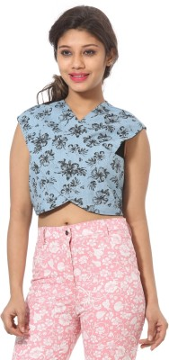 Abony Casual Sleeveless Printed Women's Blue Top