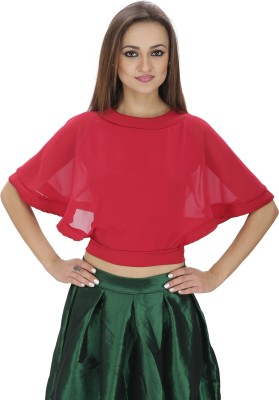 Svt Ada Collections Party Short Sleeve Solid Women's Maroon Top