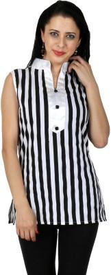 Natty India Casual Sleeveless Striped Women's Black, White Top