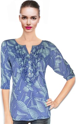 BeforeAfter Casual 3/4 Sleeve Floral Print Women's Blue Top