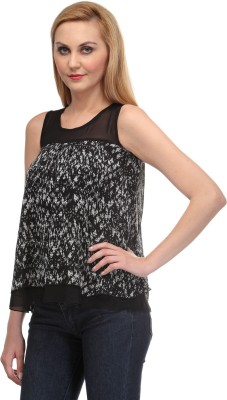 Rockland Life Casual Sleeveless Printed Women's Black, Grey Top