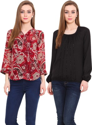 Pryma Donna Casual Full Sleeve, 3/4 Sleeve Solid, Printed Women's Black, Red, Beige Top