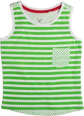 Allen Solly Casual Sleeveless Striped Girl's Green Top