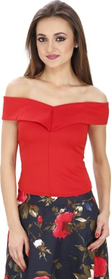 Svt Ada Collections Party Sleeveless Solid Women's Red Top