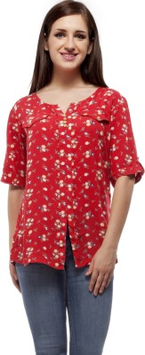 Peptrends Casual Short Sleeve Printed Women's Red Top
