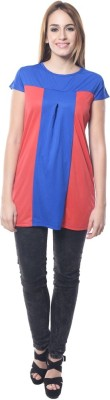 Dharamanjali Casual Puff Sleeve Striped Women's Red, Blue Top