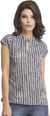 Clovia Casual Cap sleeve Printed Women's Blue Top