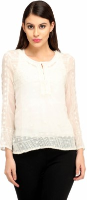 Snoby Casual Full Sleeve Printed Women's White Top