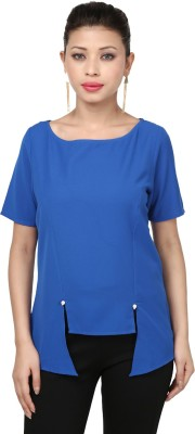 Threesome Casual Short Sleeve Solid Women's Blue Top