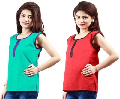 Visach Casual Sleeveless Solid Women's Blue, Red Top