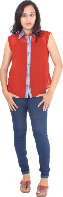 Rasi Silks Casual Sleeveless Solid Women's Red Top