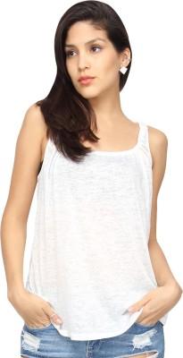 Americanlaundry Casual Sleeveless Solid Women's White Top
