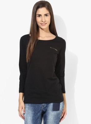Tshirt Company Casual 3/4 Sleeve Solid Women's Black Top