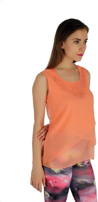 Holidae Casual Sleeveless Solid Women's Orange Top