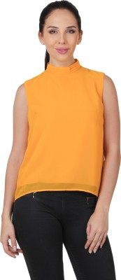 C2 Casual Sleeveless Solid Women's Yellow Top