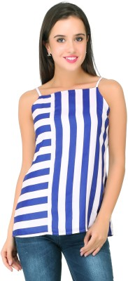 20Dresses Casual Sleeveless Striped, Solid Women's Blue, White Top