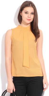 Latin Quarters Casual Sleeveless Solid Women's Yellow Top