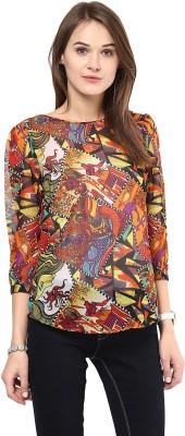 AROVI Casual 3/4 Sleeve Graphic Print Women's Multicolor Top