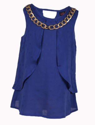 Chicabelle Casual Sleeveless Solid Girl's Blue Top