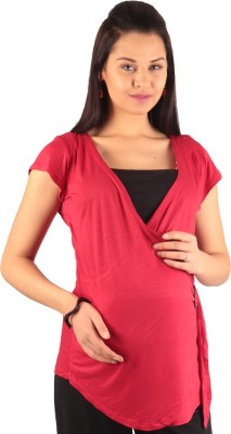 Morph Maternity Casual Short Sleeve Solid Women's Red Top