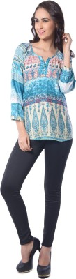 Florriefusion Casual 3/4 Sleeve Printed Women's Blue Top